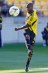 Phoenix's Roly Bonevacia takes a shot against the Brisbane Roar in the A-League football match at Westpac Stadium, Wellington, New Zealand, Sunday, January 04, 2015. Credit: Dean Pemberton
