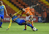 18/12/18 The Emirates FA Cup, 2nd Round Replay Blackpool v Solihull Moor<br /> <br /> Tyrone Williams fouls Curtis Tilt