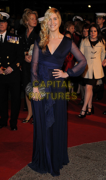Francesca 'Cheska' Hull.The 'War Horse' UK film premiere, Odeon Leicester Square cinema, London, England..January 8th, 2012 .full length blue dress sheer sleeves hand on hip clutch bag sash.CAP/CAN.©Can Nguyen/Capital Pictures.