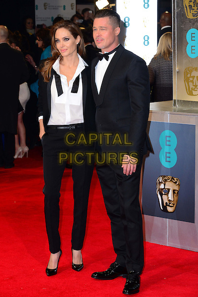 LONDON, ENGLAND - FEBRUARY 16:   Angelina Jolie; Brad Pitt attend EE British Academy Film Awards (BAFTAs) at Royal Opera House, Covent Garden, on February 16, 2014, in London, England.  <br /> CAP/JOR<br /> &copy;Nils Jorgensen/Capital Pictures