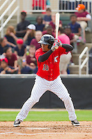 Jean Almanzar (10) of the Kannapolis Intimidators at bat against the Delmarva Shorebirds at CMC-Northeast Stadium on April 17, 2013 in Kannapolis, North Carolina.  The Shorebirds defeated the Intimidators 9-4.  (Brian Westerholt/Four Seam Images)