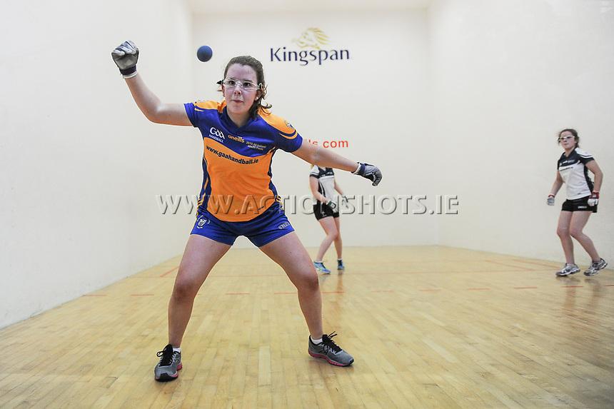 07/04/2018; GAA Handball O&rsquo;Neills 40x20 Championship Final Girls Minor Doubles Clare (Catriona Millane/Bridin Dinan) v Kildare (Leah Doyle/Molly Dagg); Kingscourt, Co Cavan;<br /> <br /> Photo Credit: actionshots.ie/Tommy Grealy