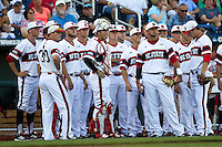 The North Carolina State Wolfpack baseball team before their game against the UCLA Bruins in the 2013 Men's College World Series on June 18, 2013 at TD Ameritrade Park in Omaha, Nebraska. The Bruins defeated the Wolfpack 2-1, eliminating North Carolina State from the tournament. (Andrew Woolley/Four Seam Images)