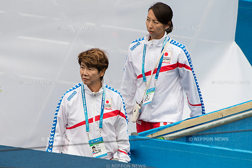 (L-R)  Masayo Imura,  Miya Miyakawa (JPN), JULY 15, 2017 - Synchronized Swimming : 17th FINA World Championships 2017 Budapest at City Park - Varosliget Lake in Budapest, Hungary. (Photo by Enrico Calderoni/AFLO)