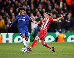 Willian of Chelsea tackled by Fillipe Luis of Atletico Madrid during the Champions League Group C match at the Stamford Bridge, London. Picture date: December 5th 2017. Picture credit should read: David Klein/Sportimage