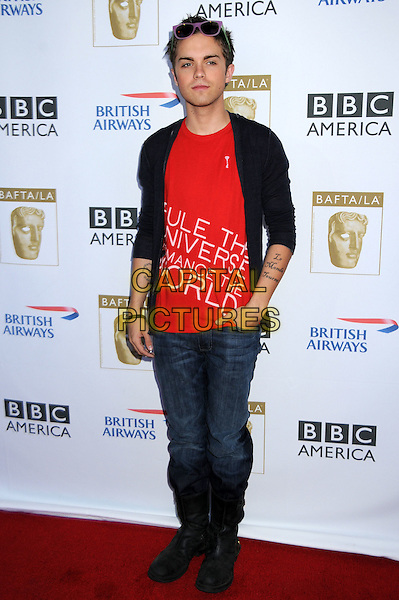 THOMAS DEKKER .6th Annual BAFTA TV Tea Party at the Intercontinental Hotel, Century City, California, USA..September 20th, 2008.full length jeans denim tucked into boots red top black cardigan.CAP/ADM/BP.©Byron Purvis/AdMedia/Capital Pictures.
