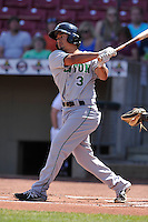 Clinton LumberKings Chris Mariscal (3) swings during the game against the Cedar Rapids Kernels at Veterans Memorial Stadium on April 17, 2016 in Cedar Rapids, Iowa.  Clinton won 7-2.  (Dennis Hubbard/Four Seam Images)