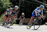 August 16, 2009:  Mountain Bike World Champion, Alison Dunlap leads a group through a tight corner during action at the Niwot Criterium, Niwott, CO.
