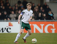 20150314 - GENDT , NETHERLANDS  : Northern Irish Dylan King pictured during the soccer match between Under 17 teams of  The Netherlands and Northern Ireland , on the second matchday in group 3 of the UEFA Elite Round Under 17 at De Bataven Stadion , Gendt , The Netherlands . Saturday  14 th March 2015 . PHOTO DAVID CATRY