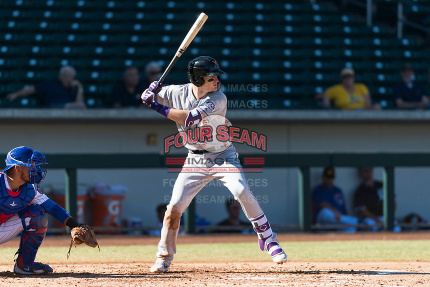 Salt River Rafters first baseman Tyler Nevin (2), of the Colorado Rockies organization, at bat during an Arizona Fall League game against the Mesa Solar Sox at Sloan Park on October 30, 2018 in Mesa, Arizona. Salt River defeated Mesa 14-4 . (Zachary Lucy/Four Seam Images)