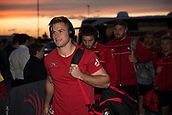 29th September 2017, AJ Bell Stadium, Salford, England; Aviva Premiership Rugby, Sale Sharks versus Gloucester; Gloucester Rugby's Henry Trinder arrives at the stadium