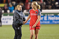 Portland, OR - Saturday May 06, 2017: Laura Harvey, Lindsey Horan during a regular season National Women's Soccer League (NWSL) match between the Portland Thorns FC and the Chicago Red Stars at Providence Park.
