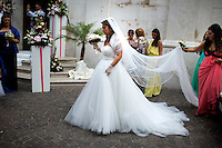 A bride arrives for a wedding at Convento di San Francesco on Saturday, Sept. 19, 2015, in Sorrento, Italy. (Photo by James Brosher)