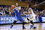 21 December 2014: Kentucky's Kyvin Goodin-Rogers (5) and Duke's Sierra Calhoun (right). The Duke University Blue Devils hosted the University of Kentucky Wildcats at Cameron Indoor Stadium in Durham, North Carolina in a 2014-15 NCAA Division I Women's Basketball game. Duke won the game 89-68.