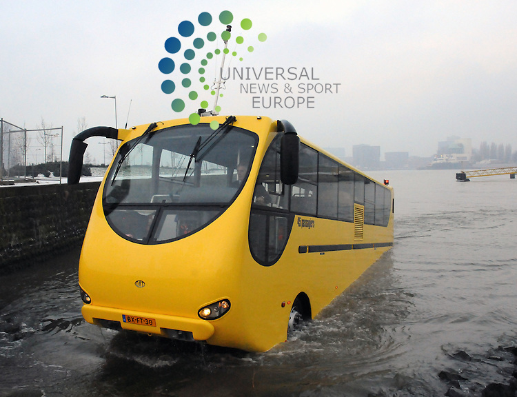 "A bus that can travel on roads and water is to be trialled on the River Clyde next week. .The £700,000 Dutch-made ""amfibus"" will be tested on the water between Renfrew and Yoke. Operator Stagecoach said it could eventually replace the existing ferry service on the route which is to be scrapped from March due to costs. The vehicle runs like a normal coach on the road but when in water uses a hull to float and is powered by twin jets. .Strathclyde Partnership for Transport (SPT) which operates the 500-year-old Renfrew to Yoker ferry service voted to withdraw it last month as part of wider moves to save £2.5m from next year's budget.. .Picture  4 February  2010: Universal News and Sport (Scotland).All pictures must be credited to  www.universalnewsandsport.com.(0ffice) 0844 884 51 22."