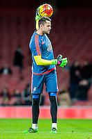 Lukasz Fabianski of Swansea City  warms up prior to the Barclays Premier League match between Arsenal and Swansea City at the Emirates Stadium, London, UK, Wednesday 02 March 2016