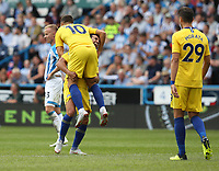 Chelsea's Pedro celebrates scoring his side's third goal with team-mate Eden Hazard <br /> <br /> Photographer Stephen White/CameraSport<br /> <br /> The Premier League - Huddersfield Town v Chelsea - Saturday August 11th 2018 - The John Smith&rsquo;s Stadium<br />  - Huddersfield<br /> <br /> World Copyright &copy; 2018 CameraSport. All rights reserved. 43 Linden Ave. Countesthorpe. Leicester. England. LE8 5PG - Tel: +44 (0) 116 277 4147 - admin@camerasport.com - www.camerasport.com