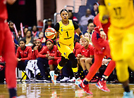 Washington, DC - June 15, 2018: Los Angeles Sparks guard Odyssey Sims (1) brings the ball up court during game between the Washington Mystics and Los Angeles Sparks at the Capital One Arena in Washington, DC. (Photo by Phil Peters/Media Images International)