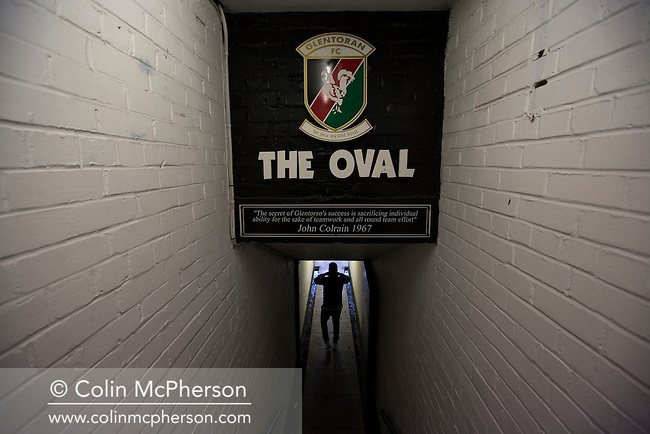 Home striker Nacho Novo walking down the tunnel before a television interview on the pitch at The Oval, Belfast after Glentoran hosted city-rivals Cliftonville in an NIFL Premiership match. Glentoran, formed in 1892, have been based at The Oval since their formation and are historically one of Northern Ireland's 'big two' football clubs. They had an unprecendentally bad start to the 2016-17 league campaign, but came from behind to win this fixture 2-1, watched by a crowd of 1872.