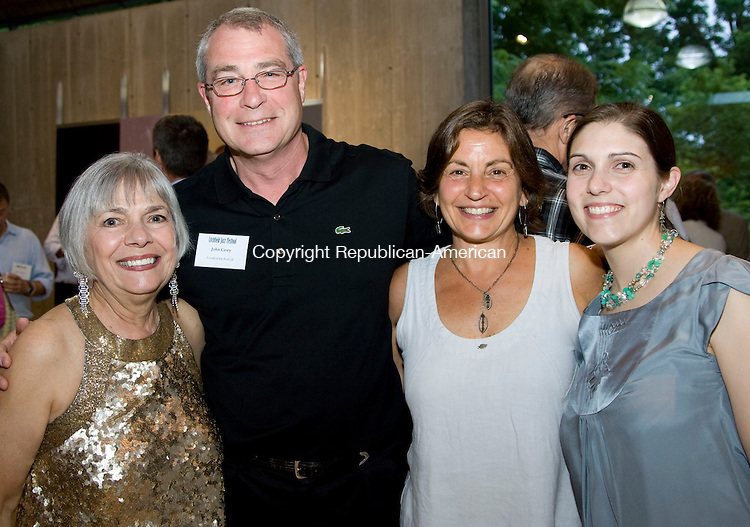 KENT, CT - 02 AUGUST 2009 -080209JT15-<br /> From left, festival founder and executive/artistic director Vita Muir with John Casey, Ellen Corsell and Muir's daughter Lindsay Turner during Friday's Friends of the Litchfield Jazz Festival Gala at the Morrison Gallery in Kent on July 31, 2009.<br /> Josalee Thrift Republican-American