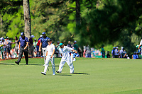 Phil Mickelson (USA) Jon Rahm (ESP) and Keith Mitchell (USA) on the 17th fairway during Wednesdays preview at the The Masters , Augusta National, Augusta, Georgia, USA. 10/04/2019.<br /> Picture Fran Caffrey / Golffile.ie<br /> <br /> All photo usage must carry mandatory copyright credit (&copy; Golffile | Fran Caffrey)