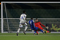 Stephen Reynolds of Romford makes a save to deny an equalising goal from Keiran Bishop of Grays during Grays Athletic vs Romford, Bostik League Division 1 North Football at Parkside on 1st January 2018