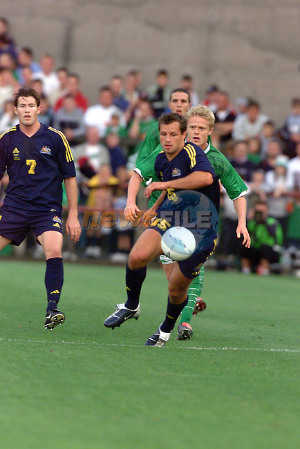 Australia's Lucas Neill keeps Ireland's Damien Duff behind during the Ireland V Australia Friendly in Lansdowne road, Dublin Ireland.Photo Fran Caffrey/Newsfile/AFP.This picture has been sent to you by:.Newsfile Ltd,.3 The View,.Millmount Abbey,.Drogheda,.Co Meath..Ireland..Tel: +353-41-9871240.Fax: +353-41-9871260.GSM: +353-86-2500958.ISDN: +353-41-9871010.IP: 193.120.102.198.www.newsfile.ie..email: pictures@newsfile.ie..This picture has been sent by Fran Caffrey.francaffrey@newsfile.ie