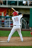 Ryan Scott (18) of the Orem Owlz at bat against the Billings Mustangs in Pioneer League action at Home of the Owlz on July 25, 2016 in Orem, Utah. Orem defeated Billings 6-5. (Stephen Smith/Four Seam Images)