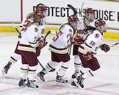 Dru Burns (BC - 7), Jackie Young (BC - 25), Emily Field (BC - 15), Alex Carpenter (BC - 5), Ashley Motherwell (BC - 18) - The Boston College Eagles defeated the visiting Mercyhurst College Lakers 4-2 (EN) on Friday, December 9, 2011, at Kelley Rink/Conte Forum in Chestnut Hill, Massachusetts.