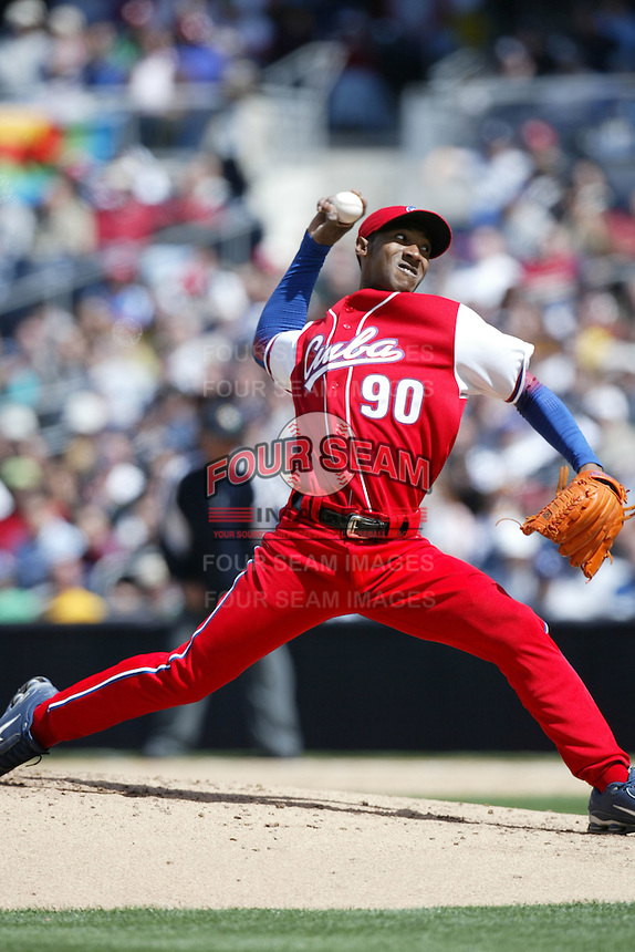 Yadel Marti of the Cuban national team during game against the Dominican Republic team during the World Baseball Championships at Petco Park in San Diego,California on March 18, 2006. Photo by Larry Goren/Four Seam Images