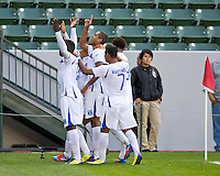 CARSON, CA - March 27, 2012: Honduras team celebrates a goal during the Honduras vs Trinidad & Tobago match at the Home Depot Center in Carson, California. Final score Honduras 2, Trinidad & Tobago 0.