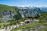 The peloton on the slopes of Col de Sarenne during Stage 7 of the Criterium du Dauphine 2017, running 168km from Aoste to Alpe d'Huez, France. 10th June 2017. <br /> Picture: ASO/A.Broadway   Cyclefile<br /> <br /> <br /> All photos usage must carry mandatory copyright credit (&copy; Cyclefile   ASO/A.Broadway)