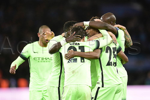 06.04.2016. Paris, France. UEFA CHampions League, quarter-final. Paris St Germain versus Manchester City.  Goal celebrations from Fernandinho Luiz Roza (Manchester City)