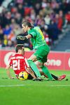 BILBAO.ESPAÑA.FÚTBOL.<br /> Partido de La Liga BBVA entre el Ath.Club y el Barça , a 01/12/2013.<br /> En la imagen :<br /> 21Ander Herrera (Athletic Bilbao)<br /> 13Jose Manuel Pinto (FC Barcelona)