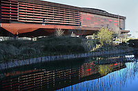 Northern section of Quai Branly Museum, 2007, by architect Jean Nouvel, Paris, France, reflected in a pool. Picture by Manuel Cohen.