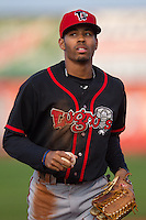Lansing Lugnuts outfielder Dalton Pompey #15 looks on during a game against the Cedar Rapids Kernels at Veterans Memorial Stadium on April 29, 2013 in Cedar Rapids, Iowa. (Brace Hemmelgarn/Four Seam Images)