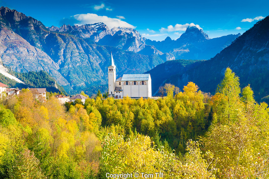 Church and Dolomite Peaks, near Cortina D'Ampezzo, Italy, Italian Alps