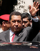 President of the Venezuela Hugo Chaves waves to fans after homage to the 225 years of the death  of the Simon Boliver at Av Liberdade downtown of Lisbon on 24 July 2008