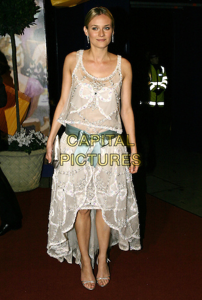 DIANE KRUGER.Official BAFTA Aftershow Dinner Party, .Grosvenor House, Park lane, London, .February 12th 2005..full length white lace twenties style Chanel dress blue satin ribbon belt bow.Ref: AH.www.capitalpictures.com.sales@capitalpictures.com.©Capital Pictures.