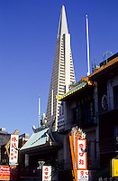 Chinatown with the Transamerica Pyramid skyscraper in San Francisco, California, USA