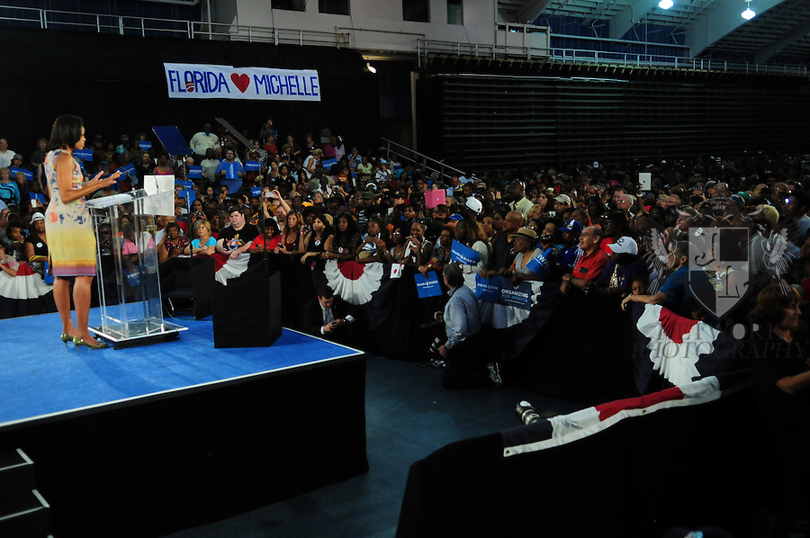 FORT LAUDERDALE, FL - AUGUST 22: Atmosphere during U.S. First Lady Michelle Obama campaign rally stop at Florida's War Memorial Auditorium Fort Lauderdale on August 22, 2012 in Fort Lauderdale, Florida. (Photo by Johnny Louis/jlnphotography.com)