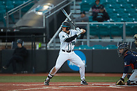 Zack Beach (16) of the Coastal Carolina Chanticleers at bat against the Illinois Fighting Illini at Springs Brooks Stadium on February 22, 2020 in Conway, South Carolina. The Fighting Illini defeated the Chanticleers 5-2. (Brian Westerholt/Four Seam Images)