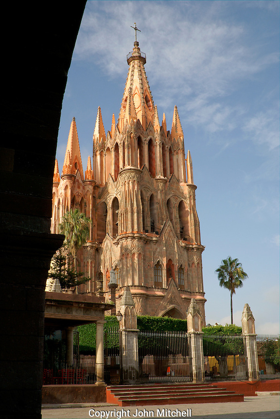 Parroquia de San Miguel Acangel parish church from above,  San Miguel de Allende, Mexico. San Miguel de Allende is a UNESCO World Heritage Site....