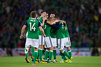 Northern Ireland players celebrate their sides second goal          <br /> <br /> <br /> Photographer Craig Mercer/CameraSport<br /> <br /> FIFA World Cup Qualifying - European Region - Group C - Northern Ireland v Czech Republic - Monday 4th September 2017 - Windsor Park - Belfast<br /> <br /> World Copyright &copy; 2017 CameraSport. All rights reserved. 43 Linden Ave. Countesthorpe. Leicester. England. LE8 5PG - Tel: +44 (0) 116 277 4147 - admin@camerasport.com - www.camerasport.com