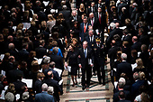Former President George W. Bush with his wife Laura during walk behind the casket of his father former president George Herbert Walker Bush during a memorial ceremony at the National Cathedral in Washington, Wednesday,  Dec.. 5, 2018. <br /> Credit: Doug Mills / Pool via CNP