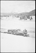 RGS #42 leaving the Lizard Head snowshed with a southbound freight.  Same or better image at RD137-076.<br /> RGS  Lizard Head, CO  Taken by Jackson, Richard B. - 7/7/1939