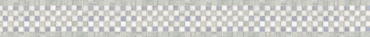 """4"""" Check border, a hand-cut stone mosaic, shown in polished Thassos, Celeste, and Ming Green."""