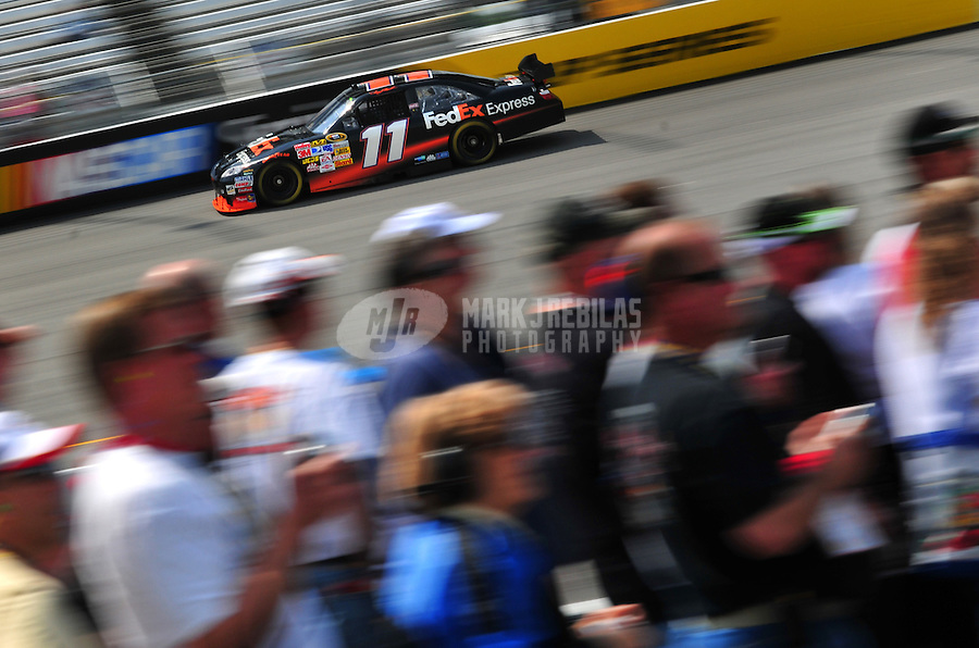 May 2, 2008; Richmond, VA, USA; NASCAR Sprint Cup Series driver Denny Hamlin during practice for the Dan Lowry 400 at the Richmond International Raceway. Mandatory Credit: Mark J. Rebilas-
