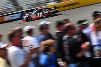 May 2, 2008; Richmond, VA, USA; NASCAR Sprint Cup Series driver Denny Hamlin during practice for the Dan Lowry 400 at the Richmond International Raceway. Mandatory Credit: Mark J. Rebilas-