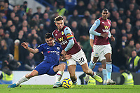 Mateo Kovacic of Chelsea and Aston Villa's Jack Grealish challenge for the ball during Chelsea vs Aston Villa, Premier League Football at Stamford Bridge on 4th December 2019